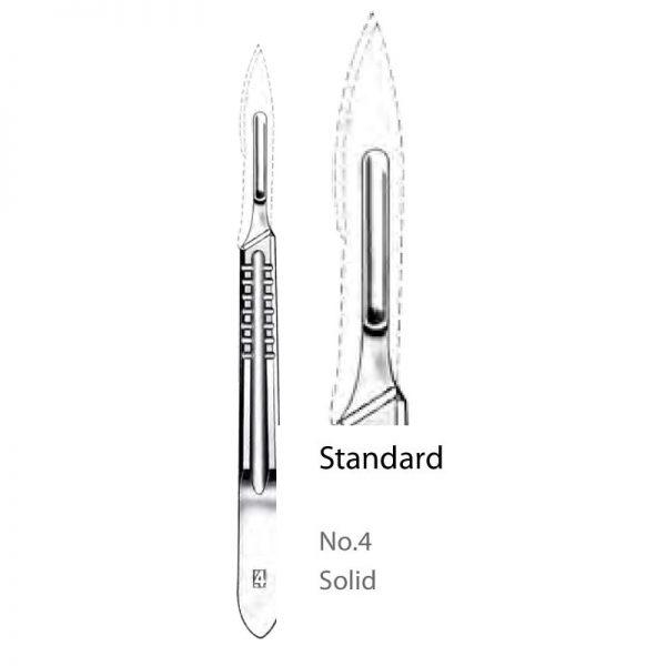 Solid No. 4 Scalpel Handle Standard Straight